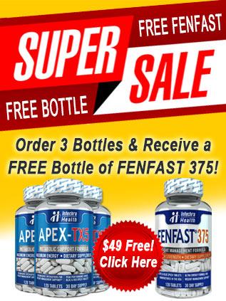 Order 3 bottles of APEX-TX5 & receive a FREE bottle of FENFAST 375