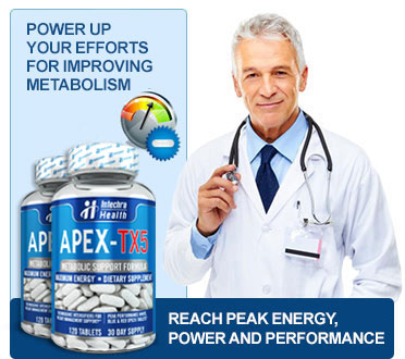 Power up your efforts for boosting your metabolism. medical professional with stethoscope and 2 bottles of Apex-Tx5